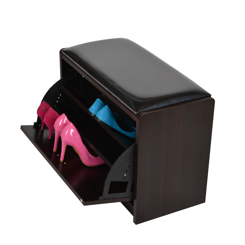 Portable Shoe Storage Bench Wood Ottoman Cabinet Rack Shelf PU 9 Pair
