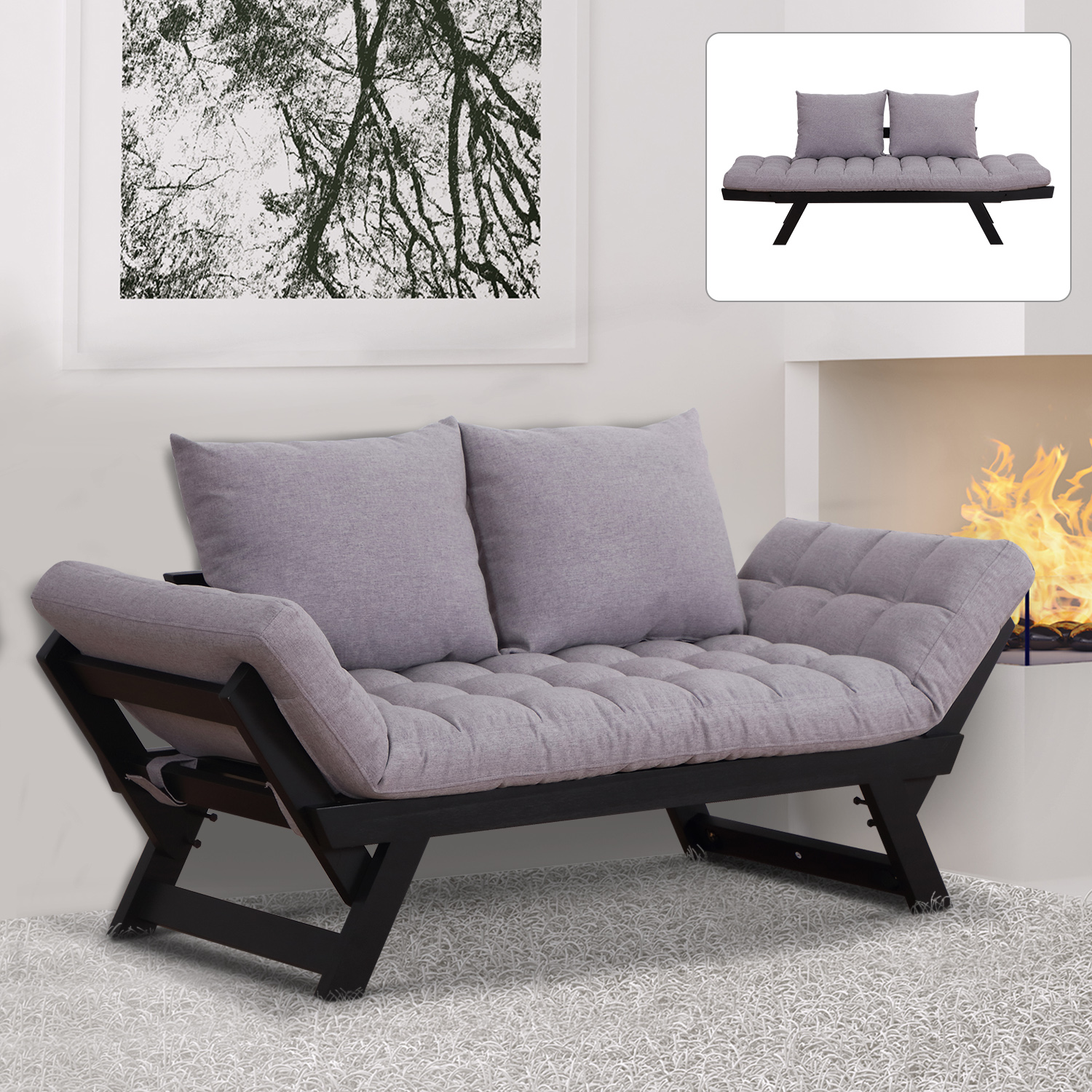 Details about 2-in-1 Sofa Bed Convertible Loveseat Living Room Grey