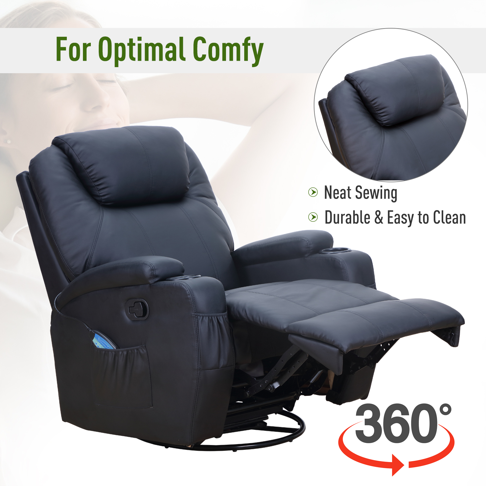 Therapeutic Heated Massage Reclining Sofa Chair Relaxing Home Furniture 3 Colors Ebay