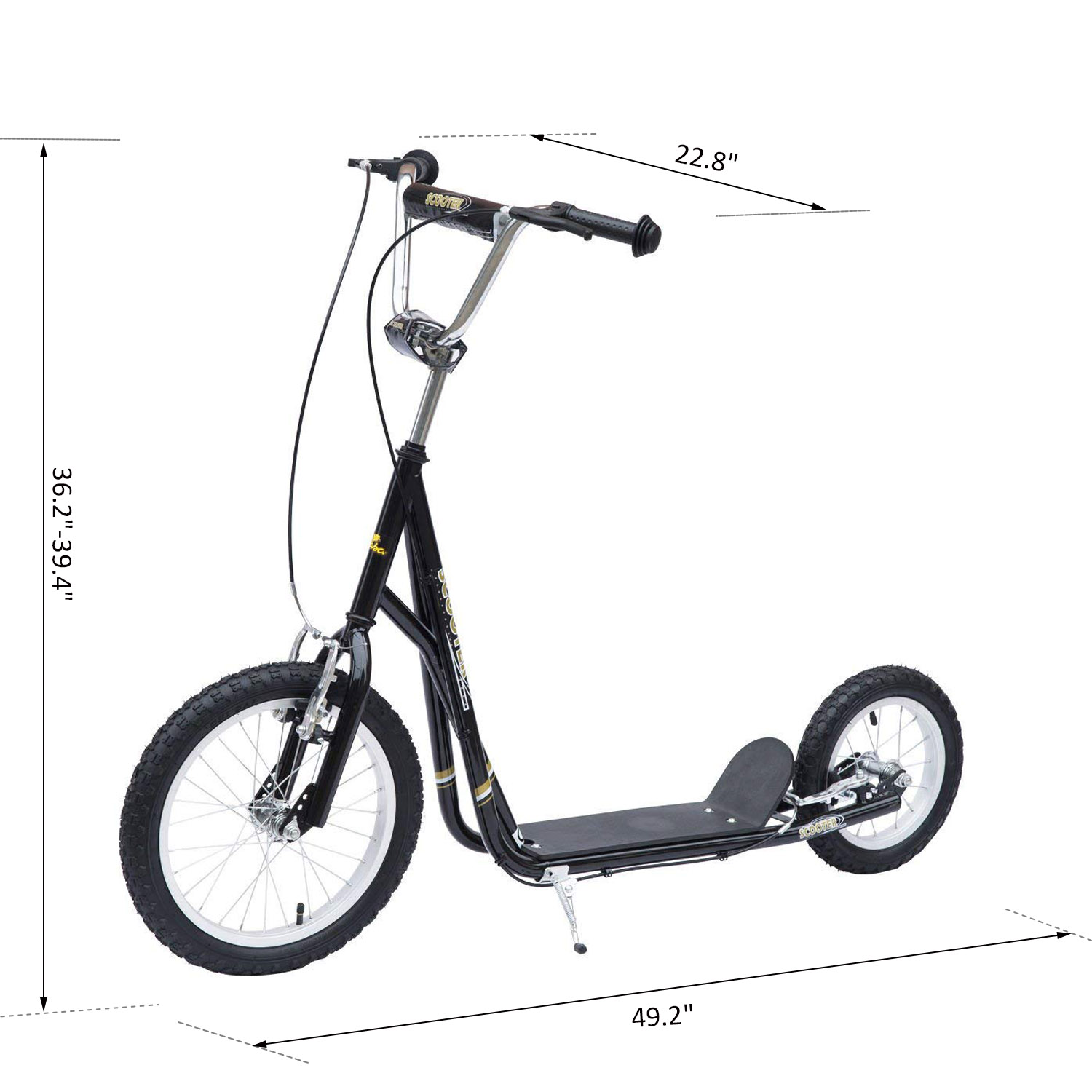 Adjustable-Teen-Kick-Scooter-Kids-Ride-On-Stunt-Street-Bike-16-034-Tire thumbnail 3