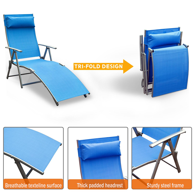 Outsunny Lounger Chaise Reclining Chair Tri Fold Portable Beach Blue 95509781352 Ebay
