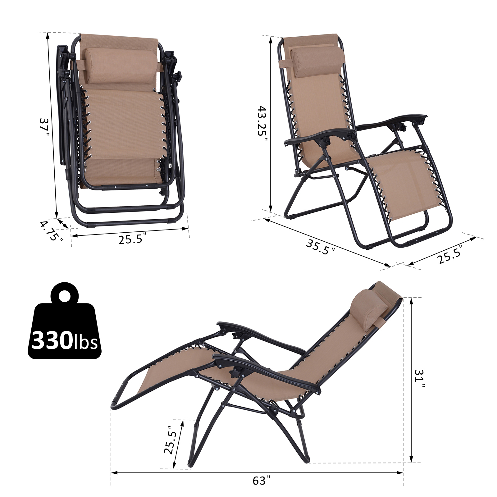 Zero Gravity Chair Adjustable Patio Lounge Chair Foldable ...