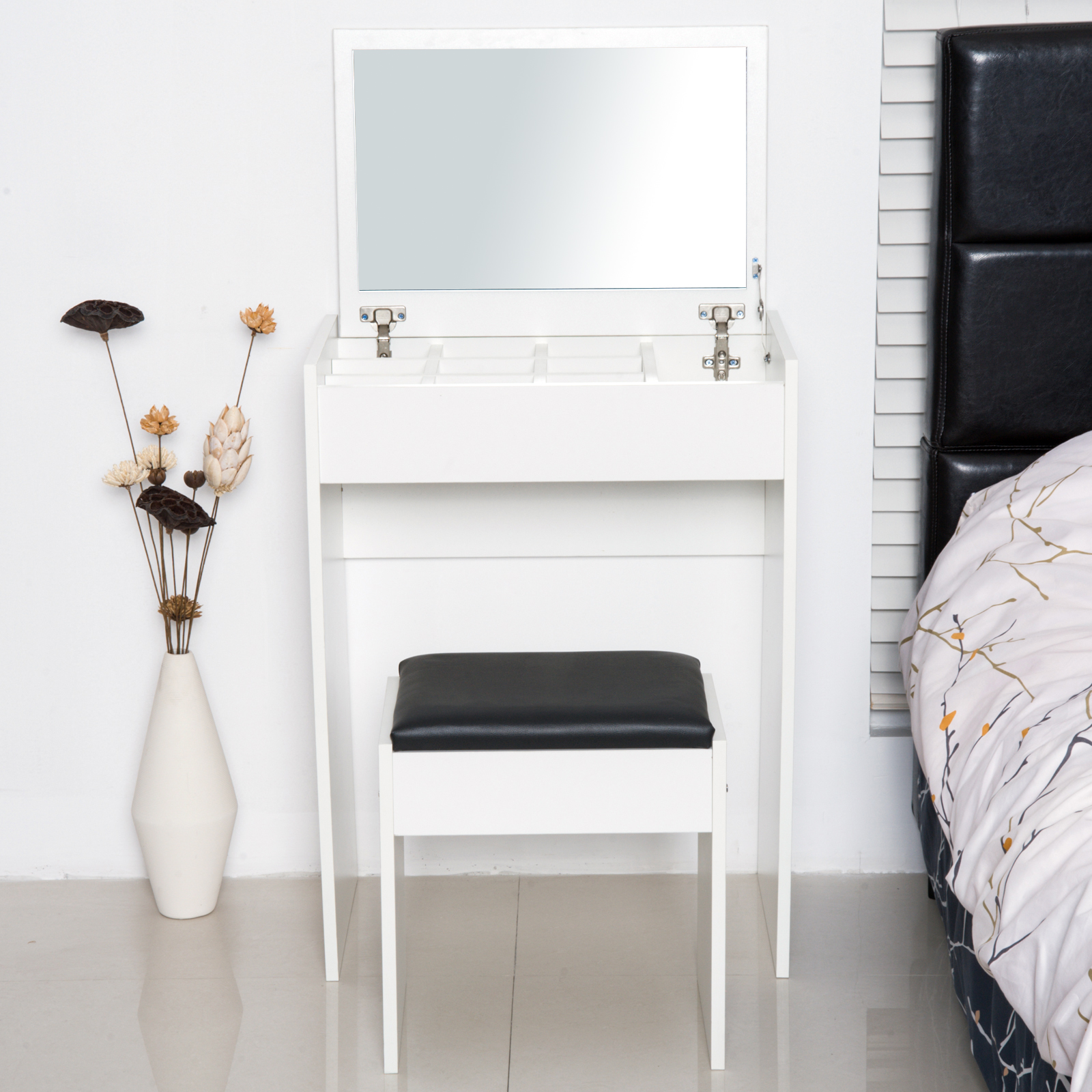 Super Details About Mirrored Vanity Set Dresser Table Stool Set Flip Top Bedroom White Ncnpc Chair Design For Home Ncnpcorg
