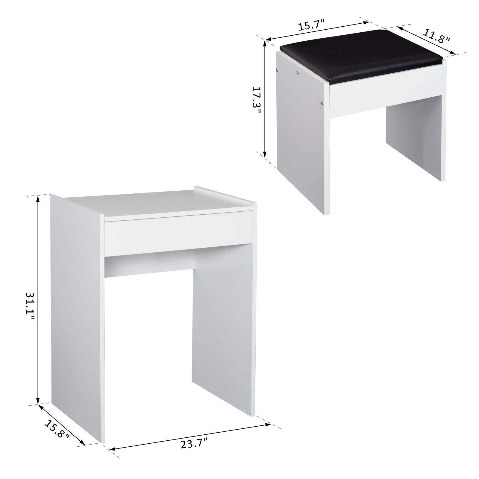 HOMCOM Mirrored Vanity Set Dressing Table and Stool Set Makeup Desk with Flip Top Bedroom Furniture White