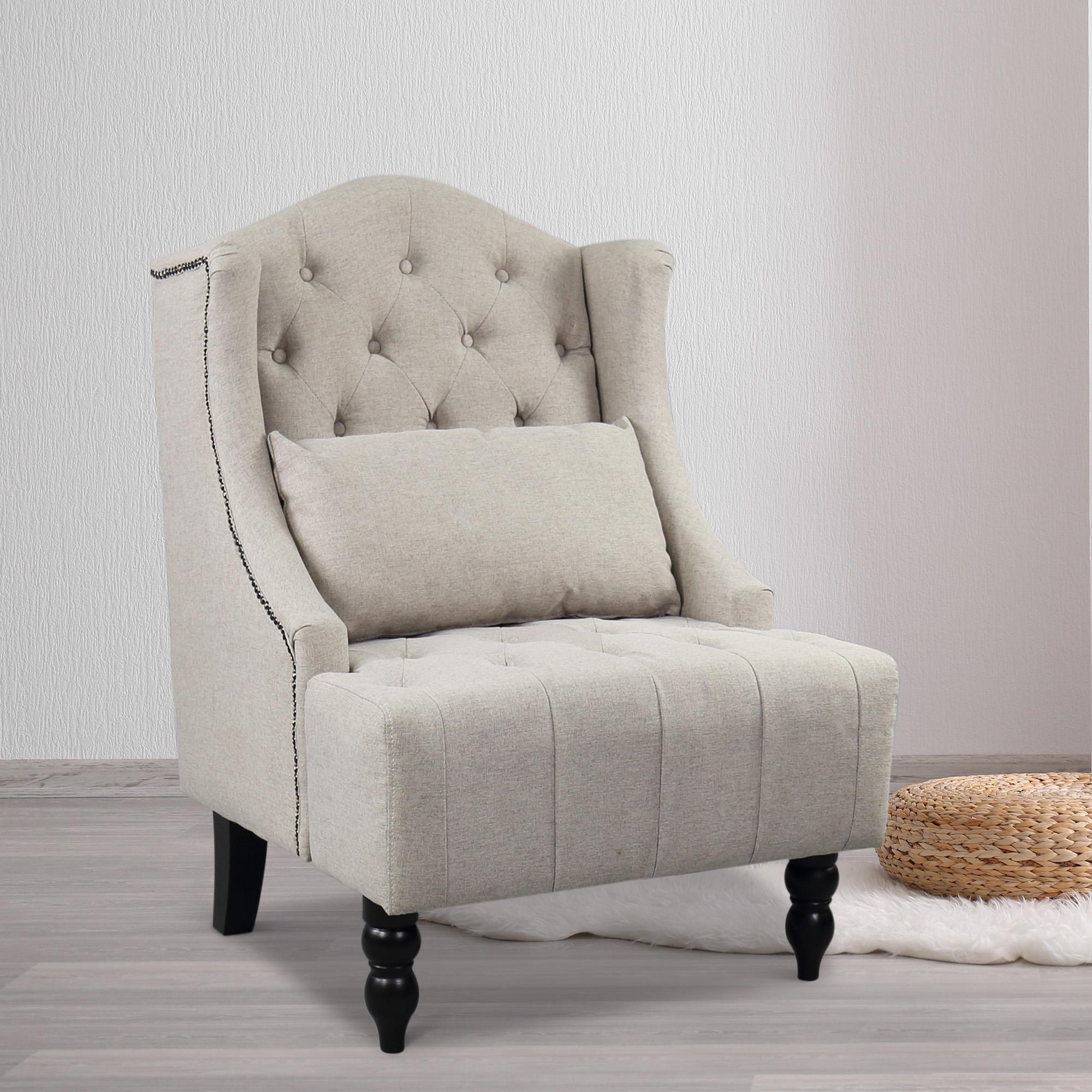 Tall Wingback Tufted Chair Accent Club Chair Nailhead Living Room