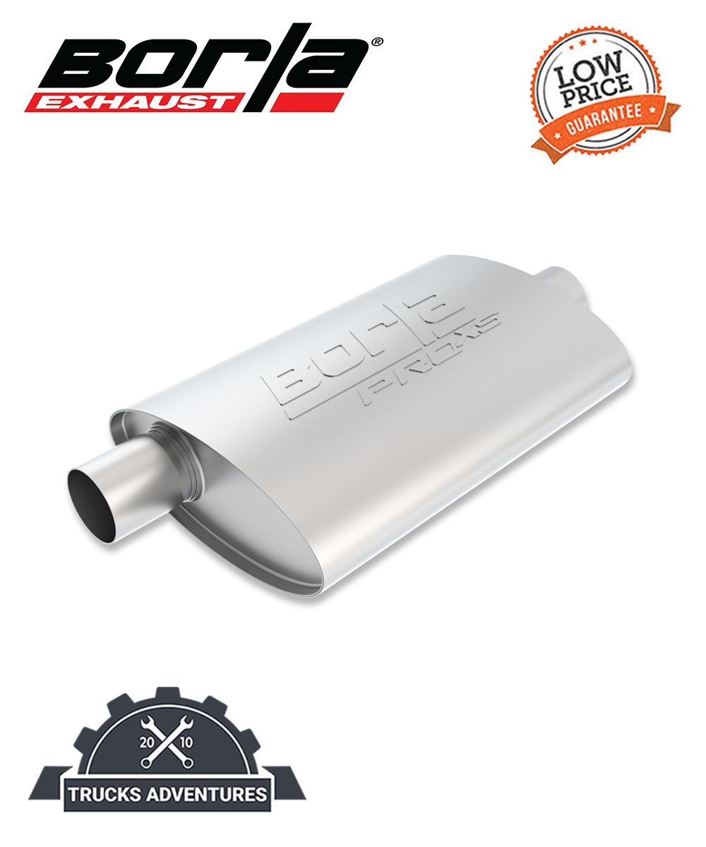 """Borla 40359 Borla Pro XS Muffler Center//Offset Oval 3/"""" Inlet//Outlet Stainless"""