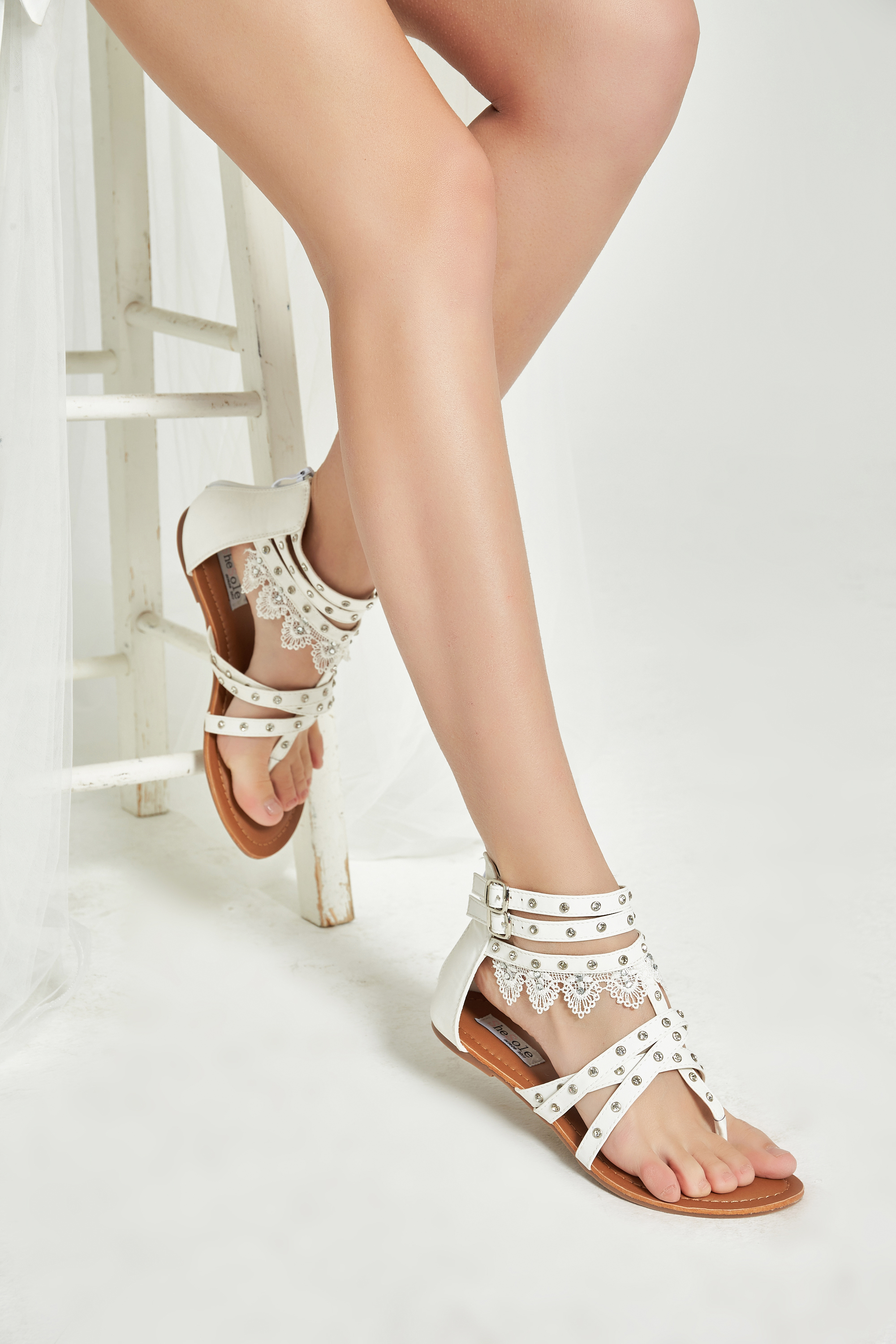Shesole Womens Casual Flat Gladiator Sandals Lace Beach -1879