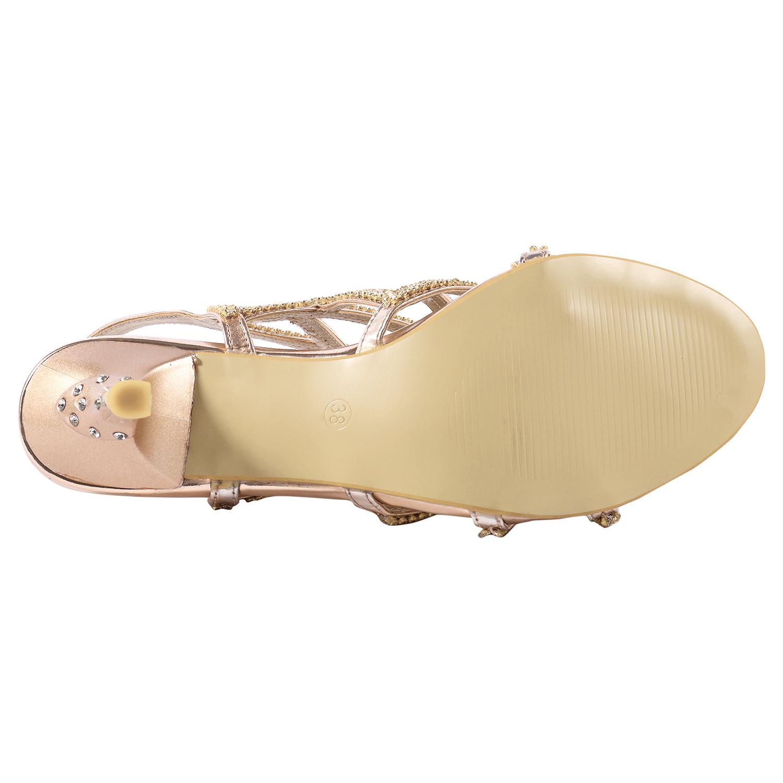 8836098bae77 SheSole Women s Rhinestone Sandals Wedding Dress Prom Shoes Low Heel ...