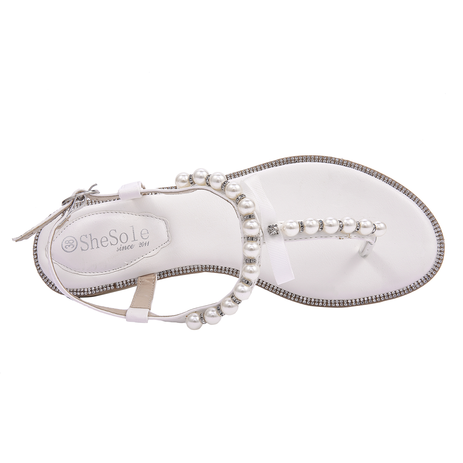 ce3d47cb6b433 SheSole Womens Flat White Sandals Pearl Beach Wedding Shoes