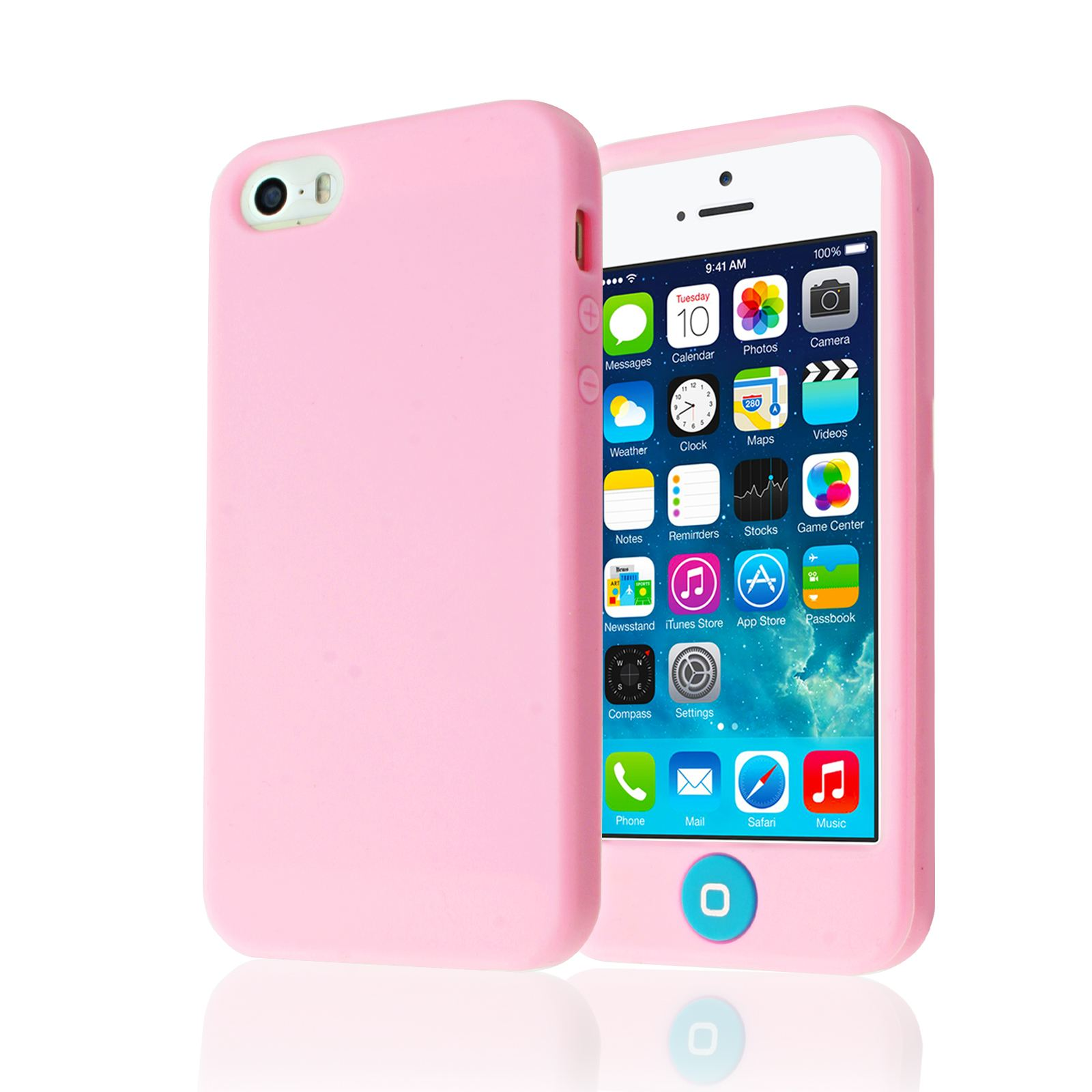 iphone 5s silicone case soft plain silicone with big buttons back guard cover 8771