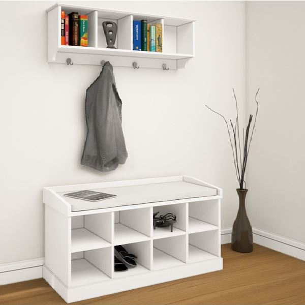 White Shoe Storage Bench Seat