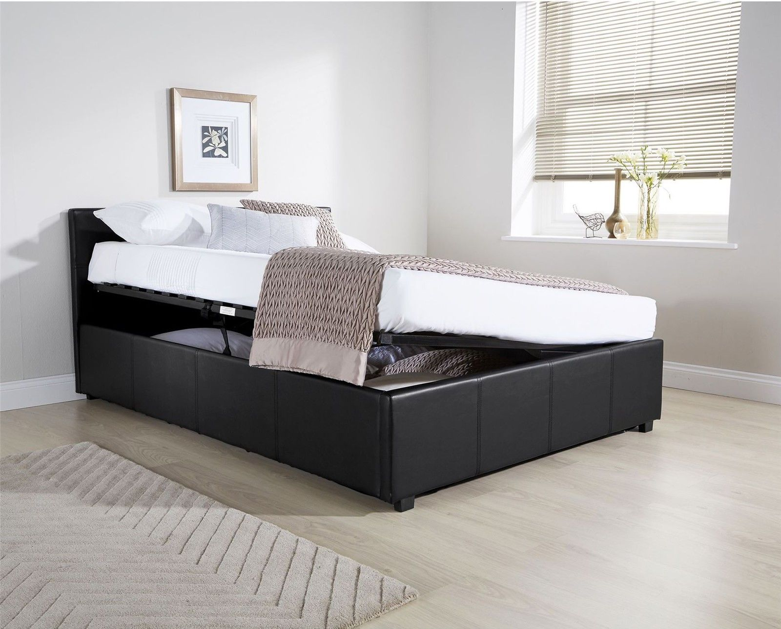 OTTOMAN SIDE LIFT BED GAS LIFT STORAGE BED FAUX LEATHER 3FT 4FT 4FT6 5FT BLACK