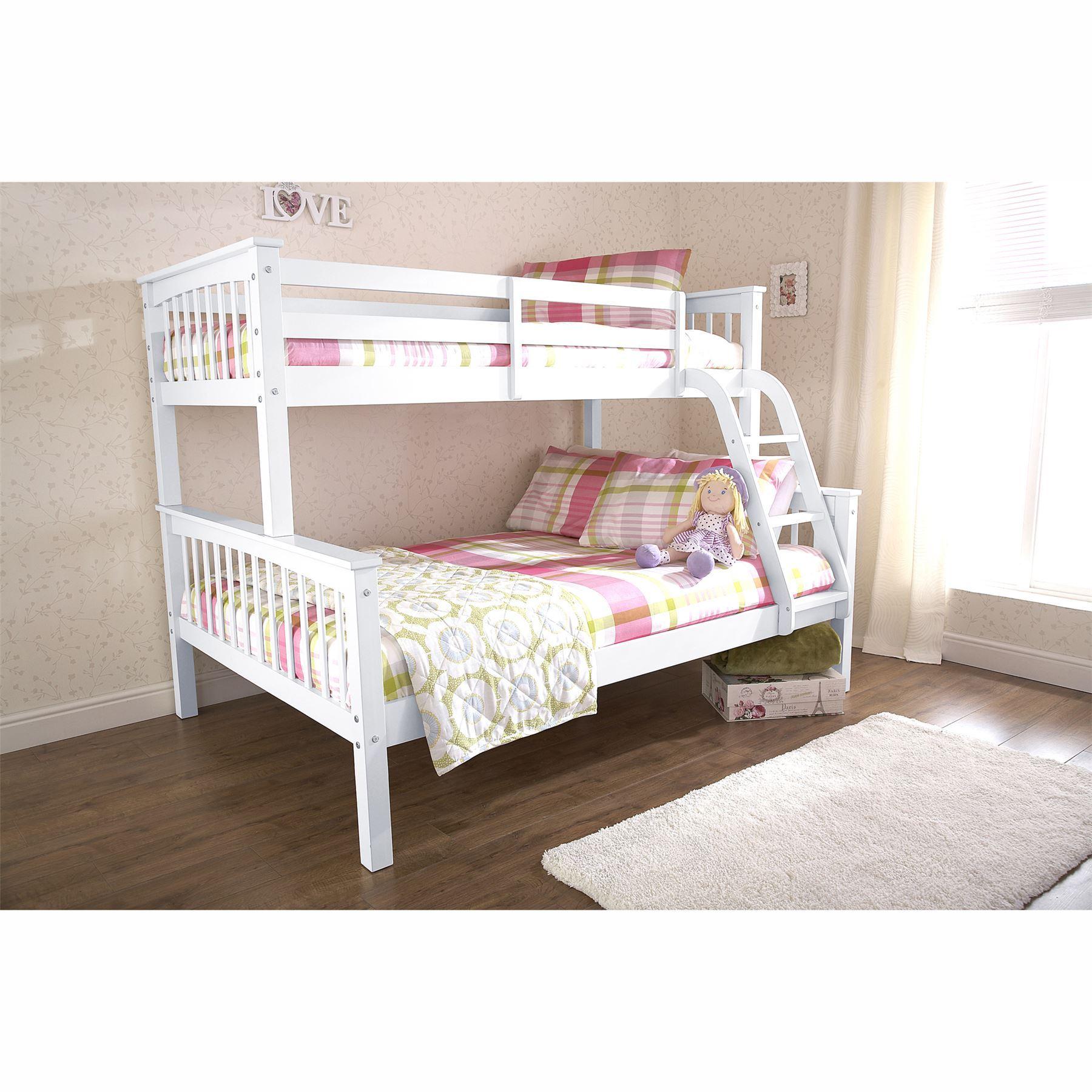 NOVARO TRIO WHITE BUNK BED FRAMES 3FT SINGLE 4FT6 DOUBLE FOR ...