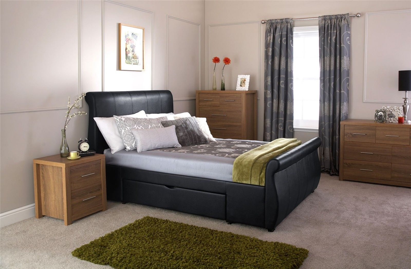 ALABAMA-FAUX-LEATHER-STORAGE-BED-SLEIGH-STYLE-BEDSTEAD- & ALABAMA FAUX LEATHER STORAGE BED SLEIGH STYLE BEDSTEAD W/ DRAWERS ...