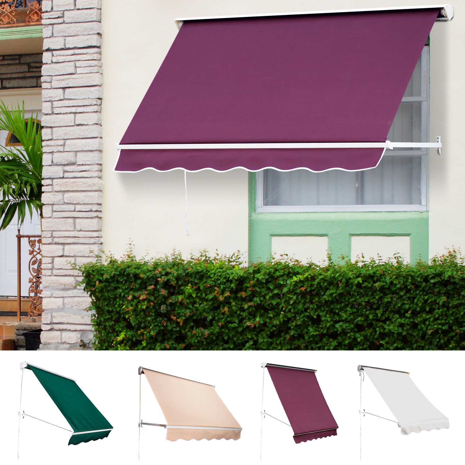 competitive price 7a5df 96e6e Details about Window Awning Manual Retractable Outdoor Patio Canopy Sun  Shade Shelter Drop Arm