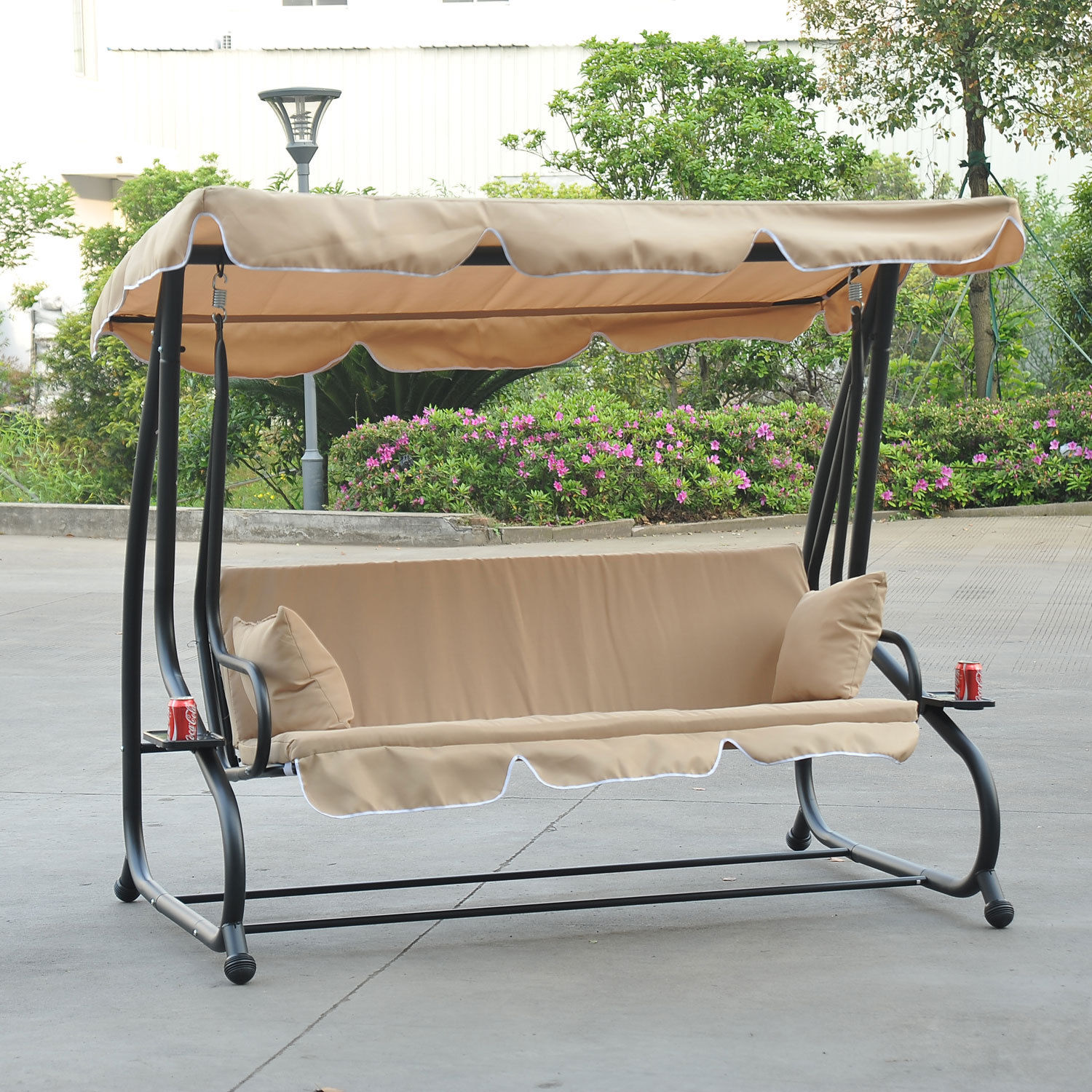 Outdoor 3 Person Patio Porch Swing Hammock Bench