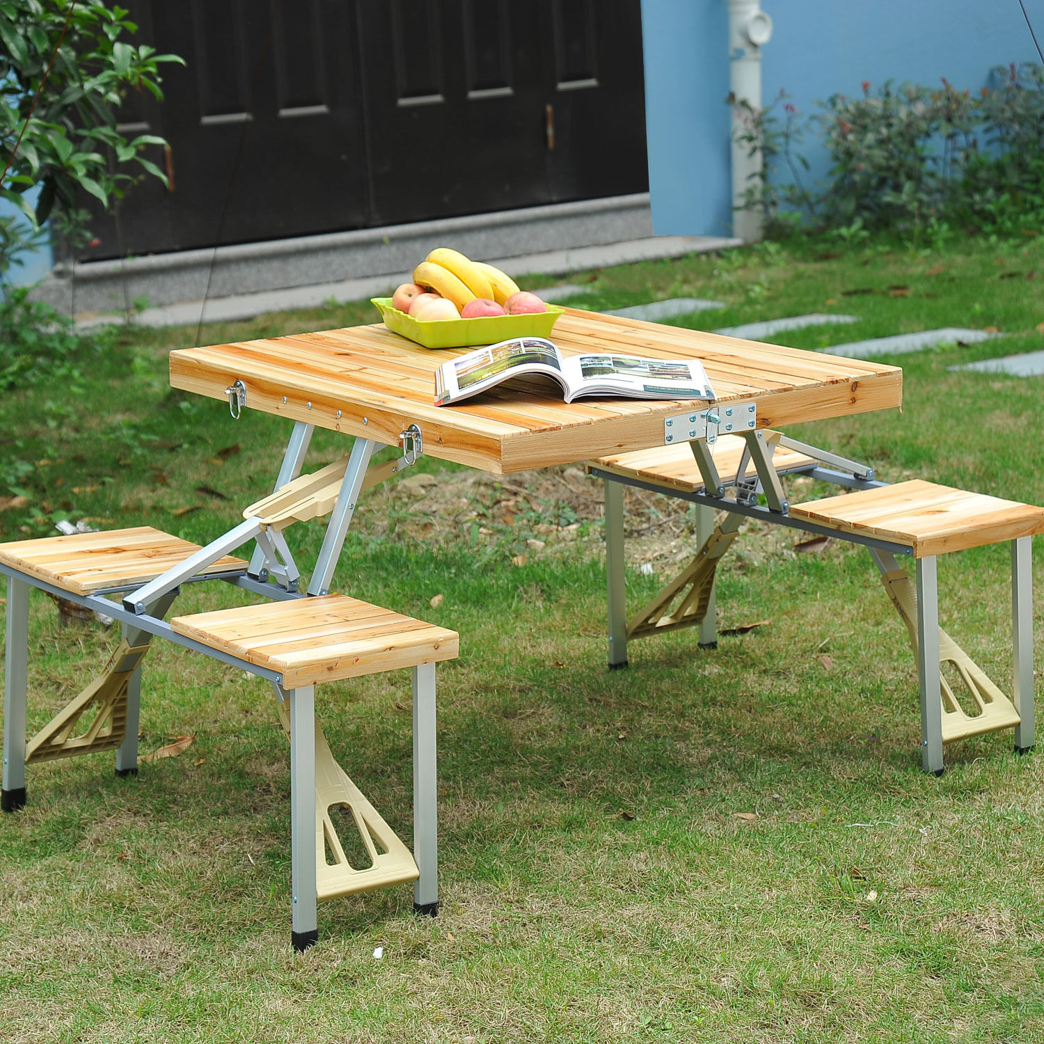 Wooden Picnic Table Bench Seat Outdoor Portable Folding C&ing Aluminum 4 seats : garden table and bench set - pezcame.com