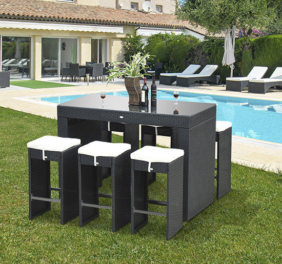 Outsunny 7pc Outdoor Kitchen Dining Table Wicker Rattan