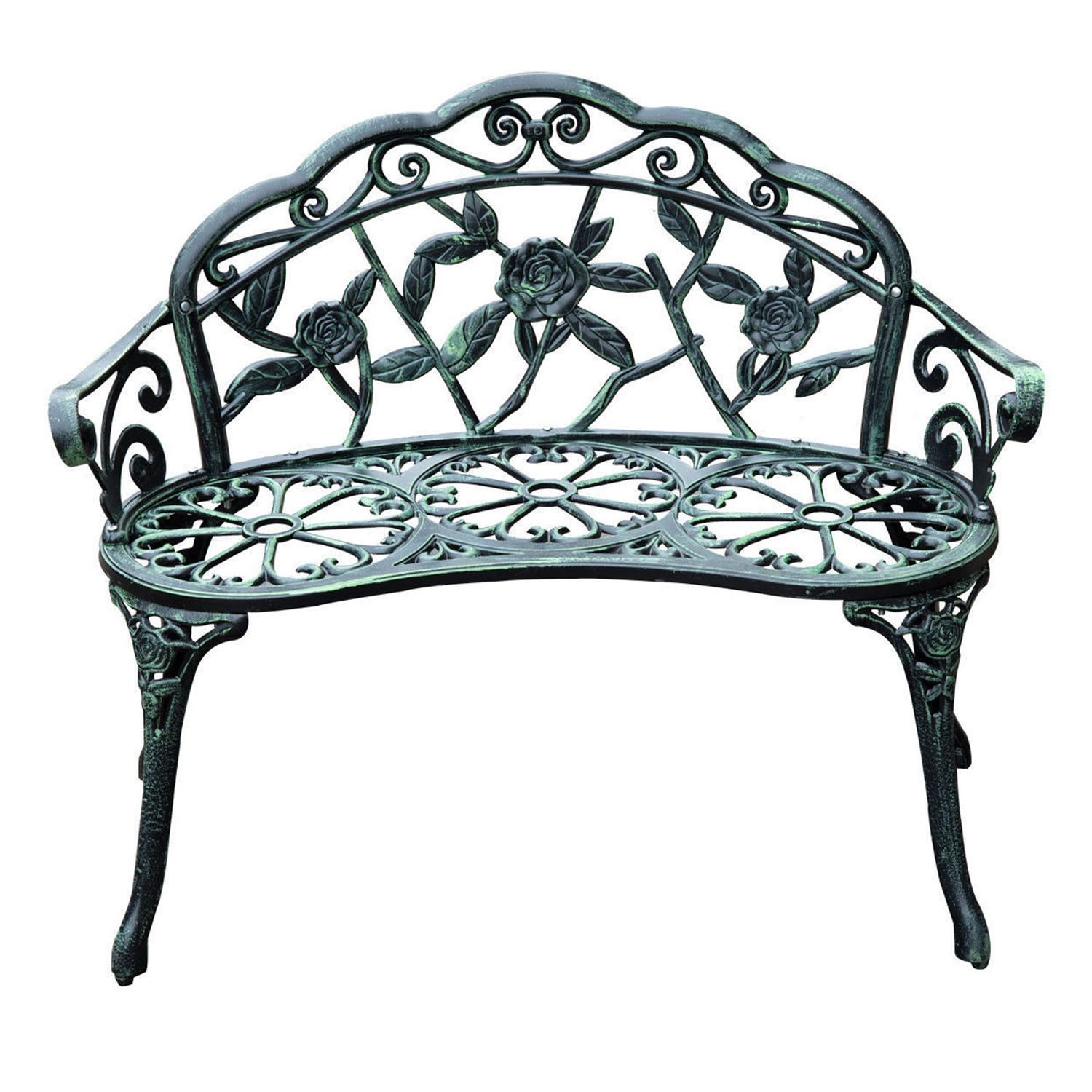 Fine Details About 40 Antique Style Patio Porch Garden Bench Cast Aluminum Outdoor Chair Rose Ncnpc Chair Design For Home Ncnpcorg