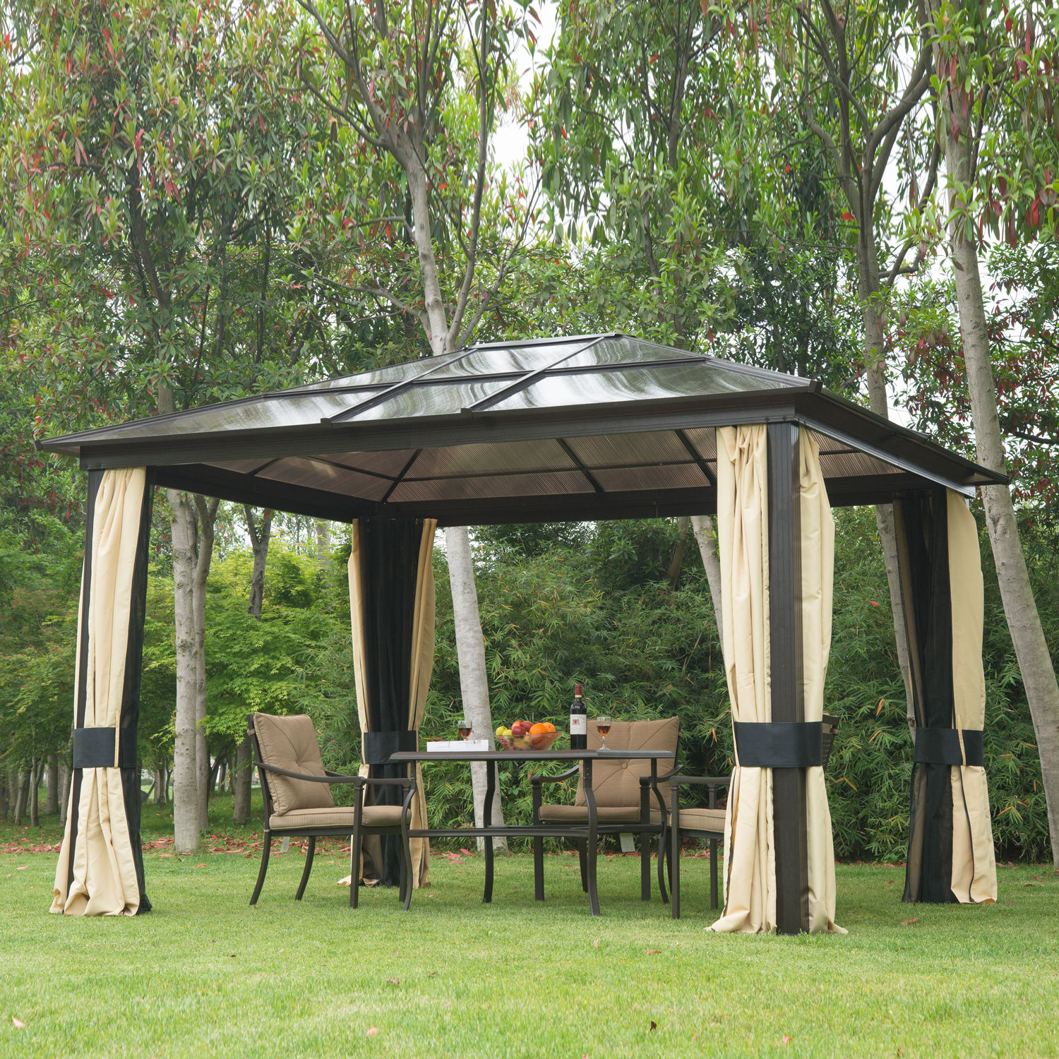 12u0027x10u0027 Outdoor Patio Canopy Party Gazebo Shelter Hardtop W/ Mesh And  Curtains