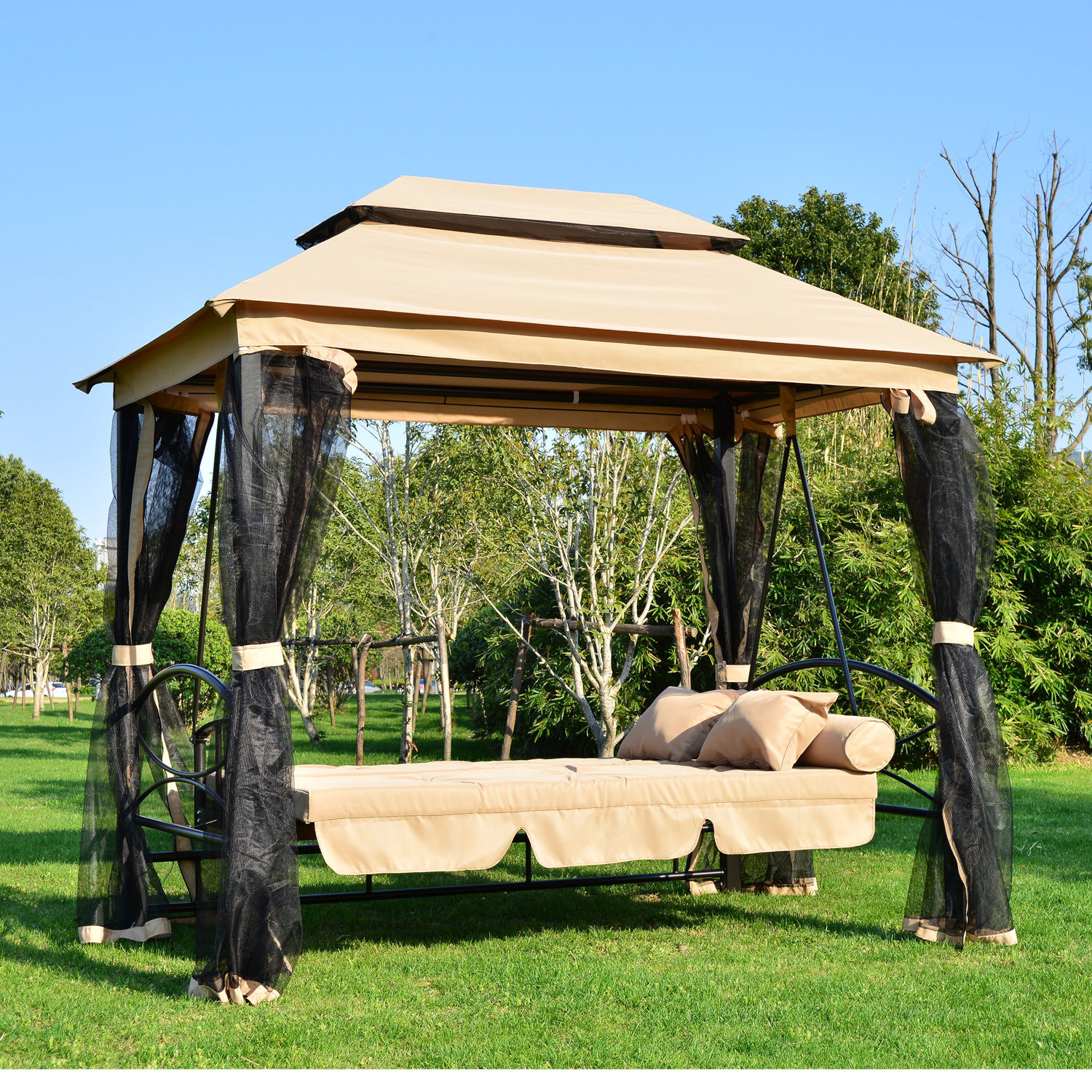 Brand new 2 in 1 Patio Swing Gazebo Canopy Daybed Hammock Canopy Tent  TY26