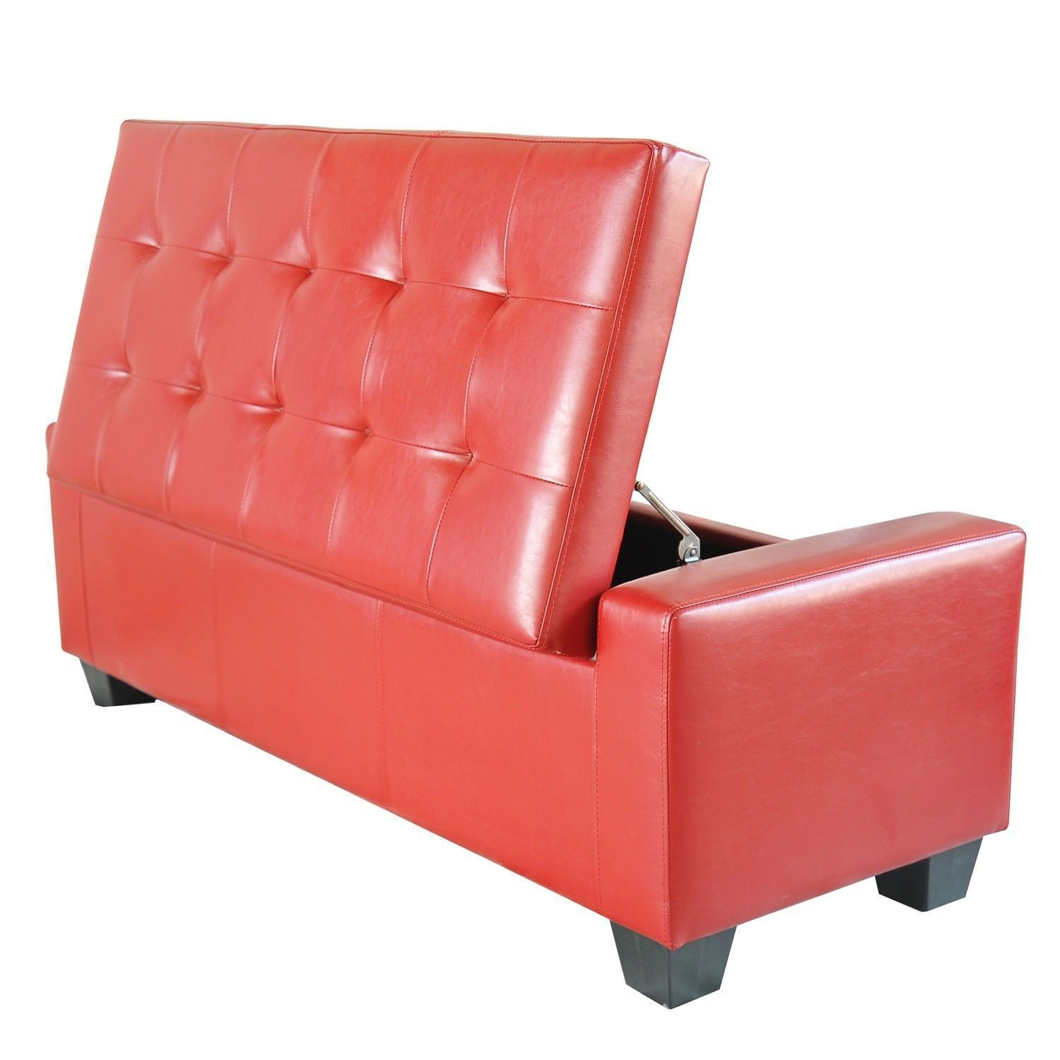overstock orange red shipping homepop storage cranberry home free garden bench tufted product linen today