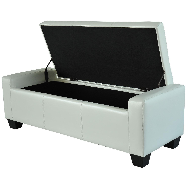 Home-Modern-Ottoman-Storage-Bench-Seat-Footrest-Sofa-  sc 1 st  eBay & Home Modern Ottoman Storage Bench Seat Footrest Sofa Shoe Faux ...
