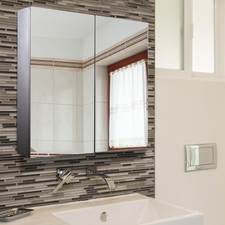 Wall Mount Storage Cabinet Mirror Double Door Stainless Steel ...