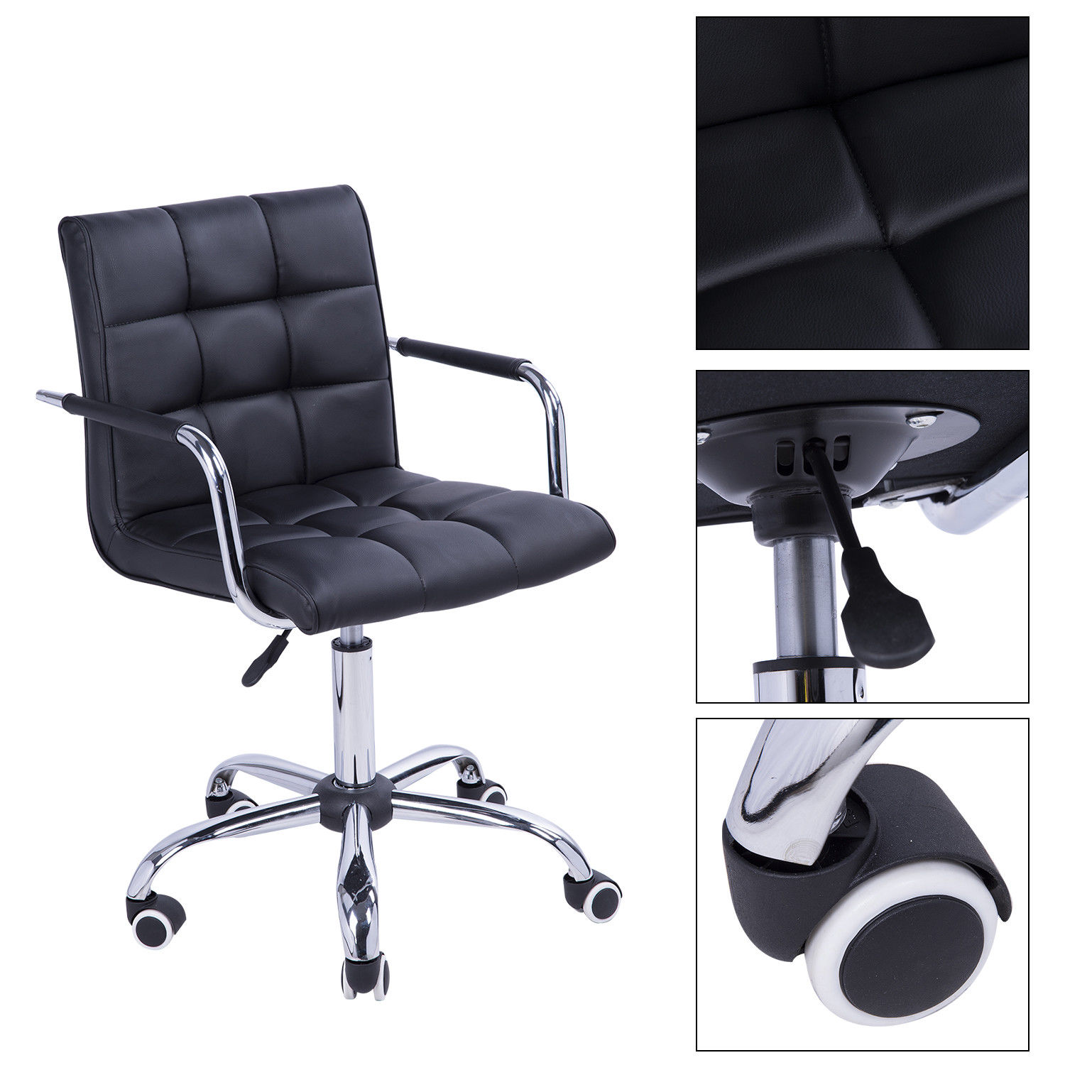 Details about Midback Executive Modern Office Chair Computer Desk Task PU  Leather Swivel