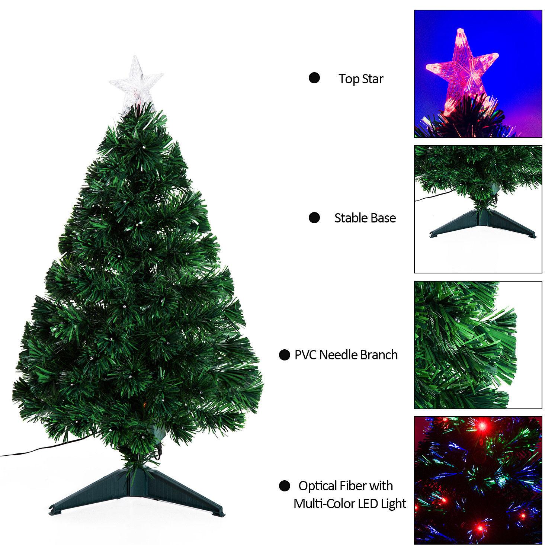 3/4/5/6/7ft Pre-lit Fiber Optic Christmas Tree Artificial Holiday ...