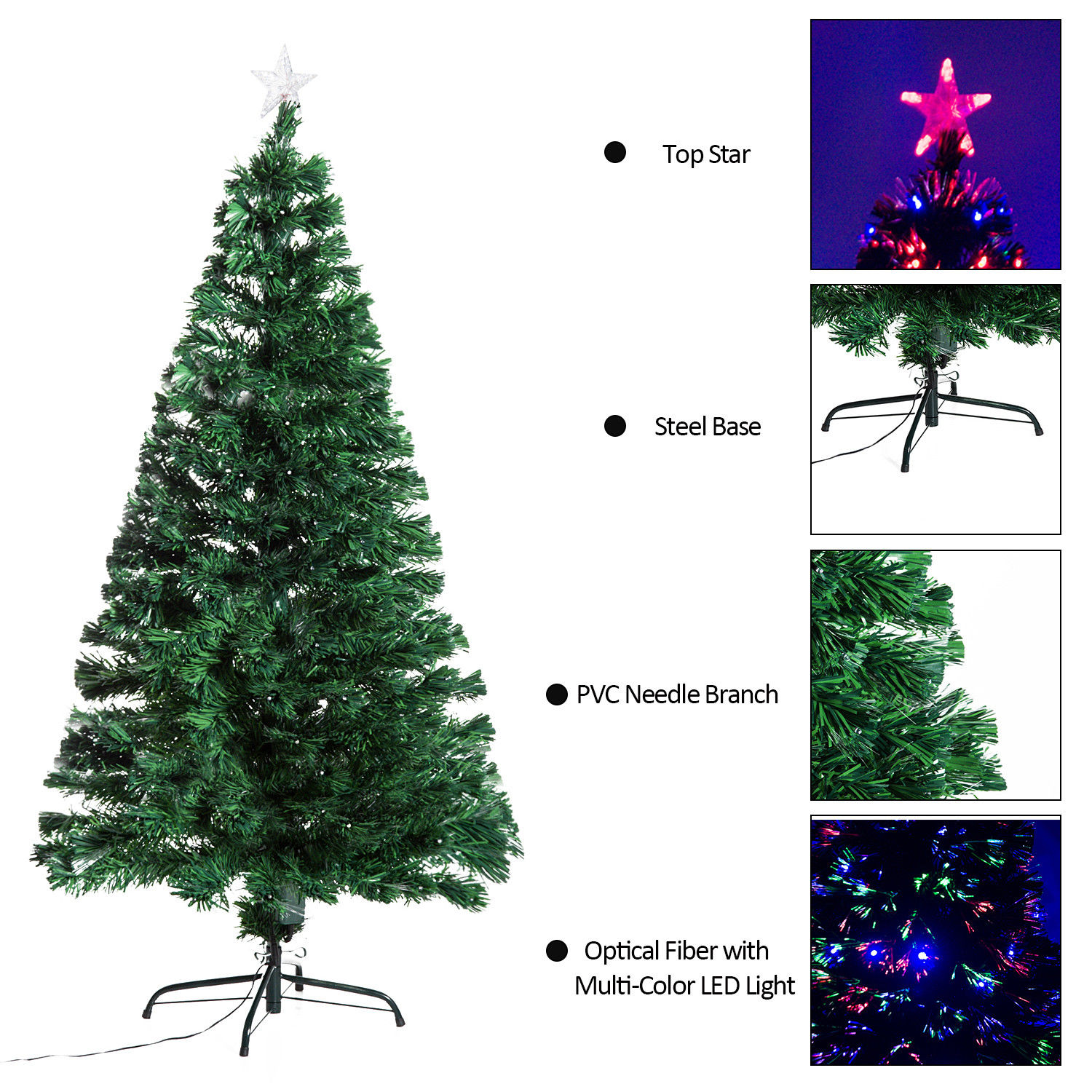 3/4/5/6/7ft Pre-lit Fiber Optic Christmas Tree Artificial Holiday ...