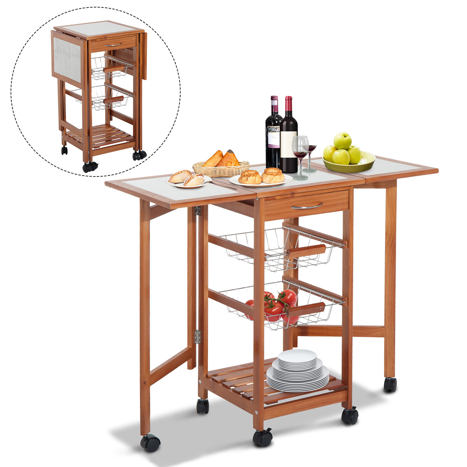 Portable Rolling Drop Leaf Kitchen Storage Island Cart Trolley Folding Table Ebay