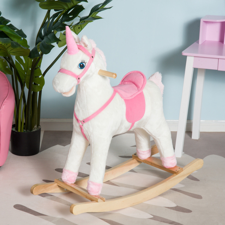 QABA Kids Rocking Chair Plush Unicorn Seat Baby Ride On Horse Rocker Play Toy