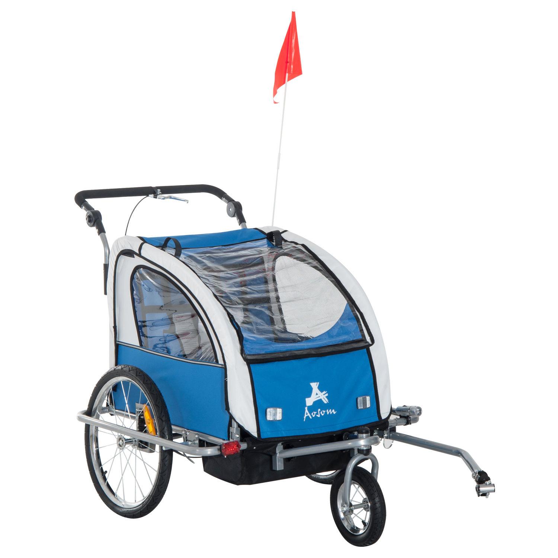 Elite Aosom Double Baby Bike Trailer Stroller Child ...