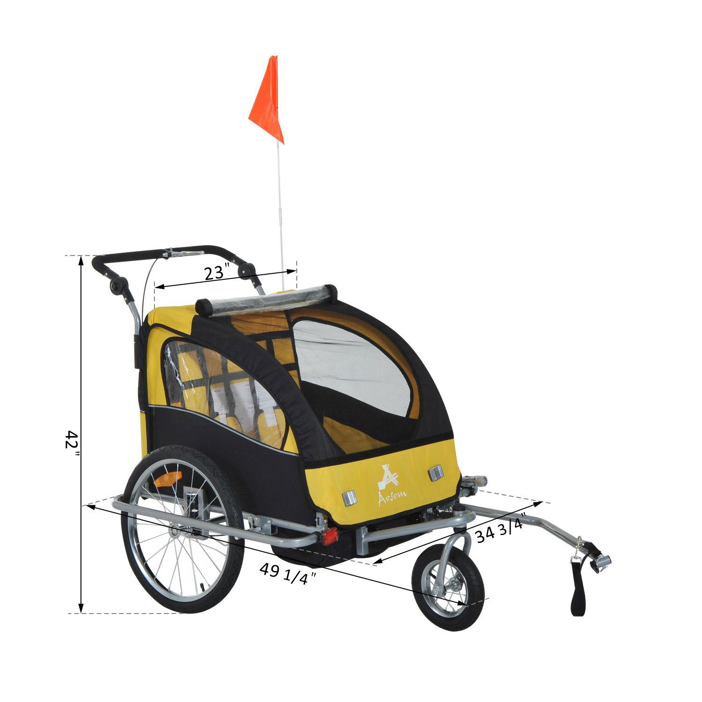 Elite Aosom Double Baby Bike Trailer Stroller Child
