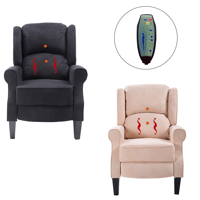 Ergonomic Massage Recliner Sofa Chair Heated Lounge Suede W Remote