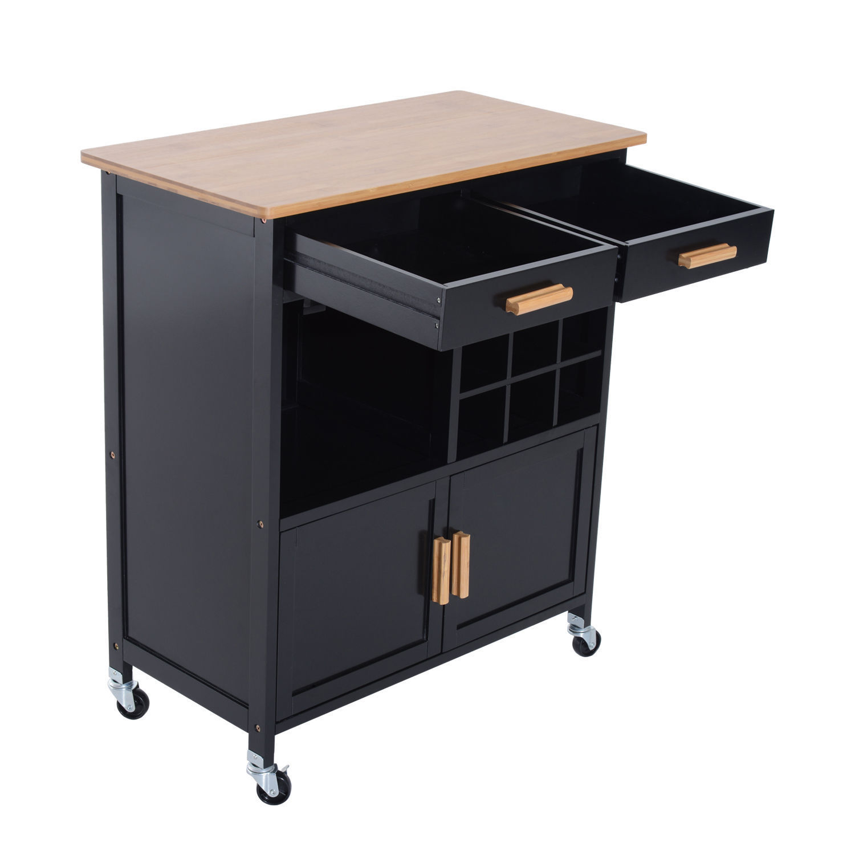Rolling Kitchen Trolley Serving Cart Wood Storage Cabinet