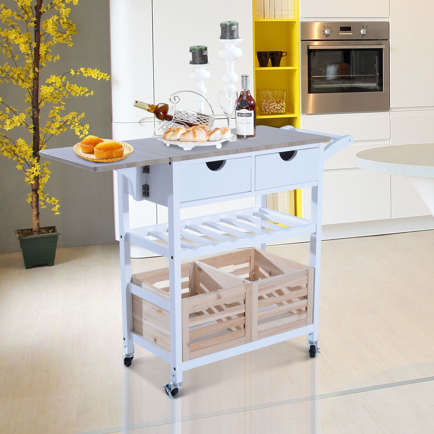 Fantastic Details About Folding Drop Leaf Kitchen Island Trolley Cart Storage Drawers Baskets Rolling Download Free Architecture Designs Scobabritishbridgeorg