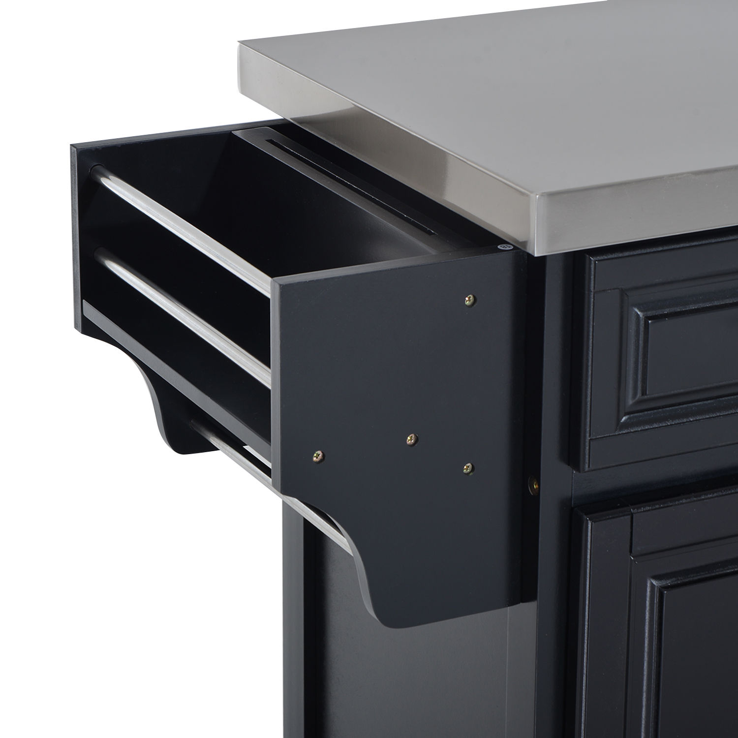 kitchen island cart rolling cabinet stainless steel top w drawers storage box ebay. Black Bedroom Furniture Sets. Home Design Ideas