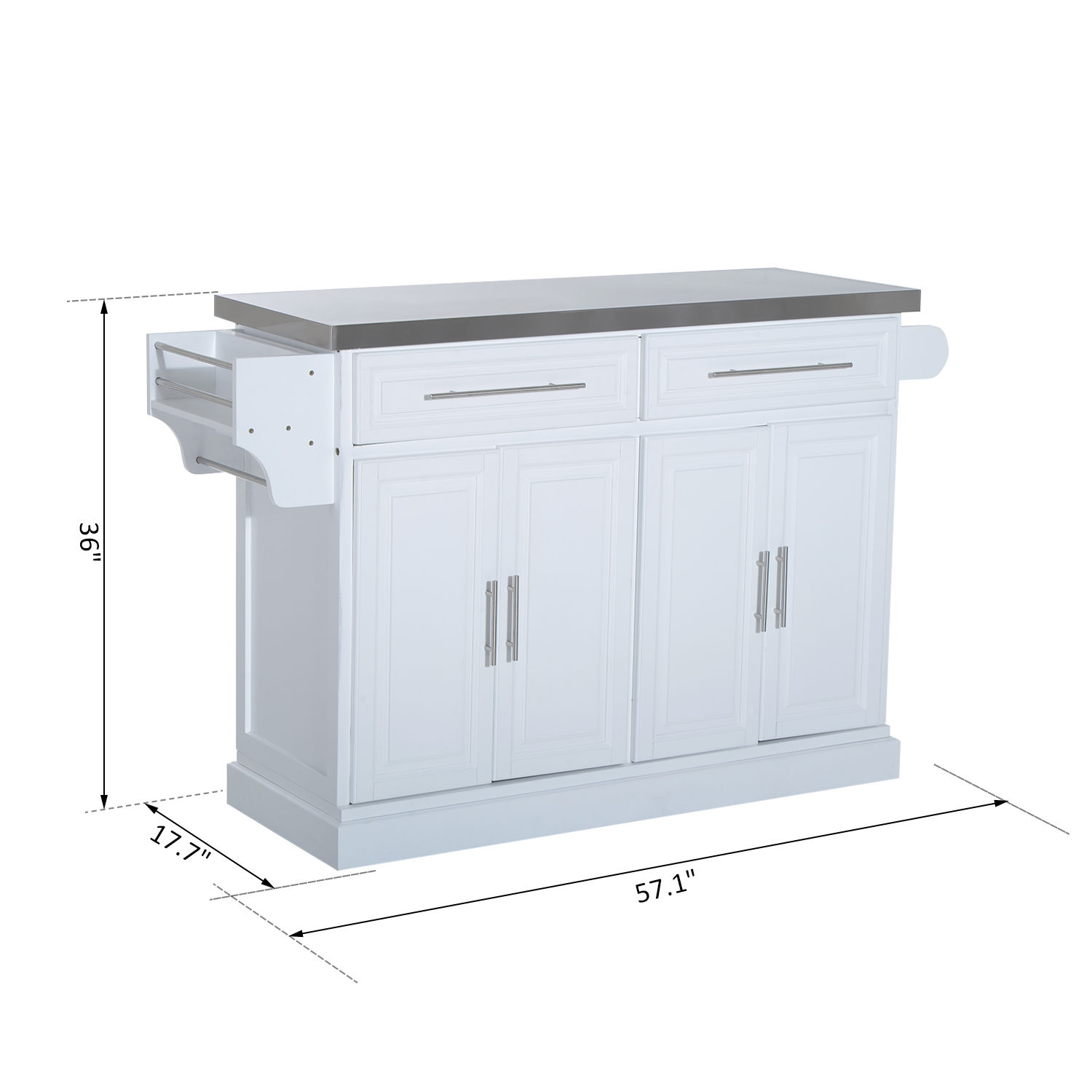 Stainless Kitchen Cabinet: Kitchen Island Cart Rolling Cabinet Stainless Steel Top W
