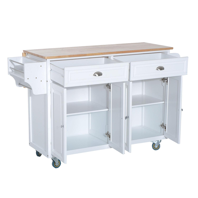 Modern Kitchen Cart Island Rolling Cabinet Utility Wood Top w ...
