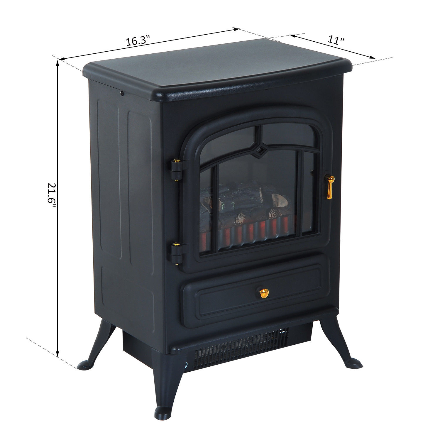 HOMCOM-750-1500W-Portable-Electric-Fireplace-Stove-Heater-Adjustable-LED-Flames thumbnail 3