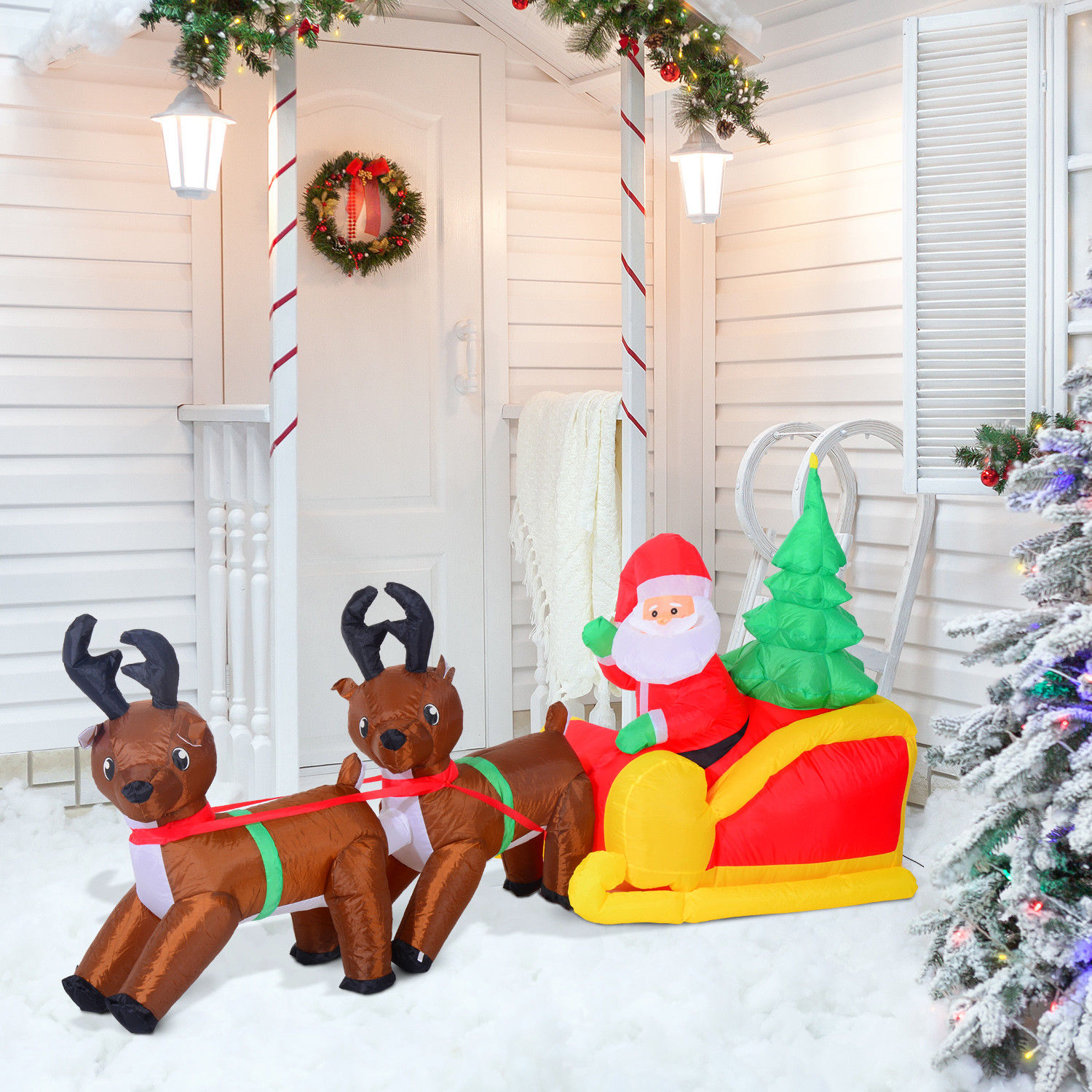 7\' Inflatable Christmas Santa Claus & Reindeer Lighted Airblown Yard ...