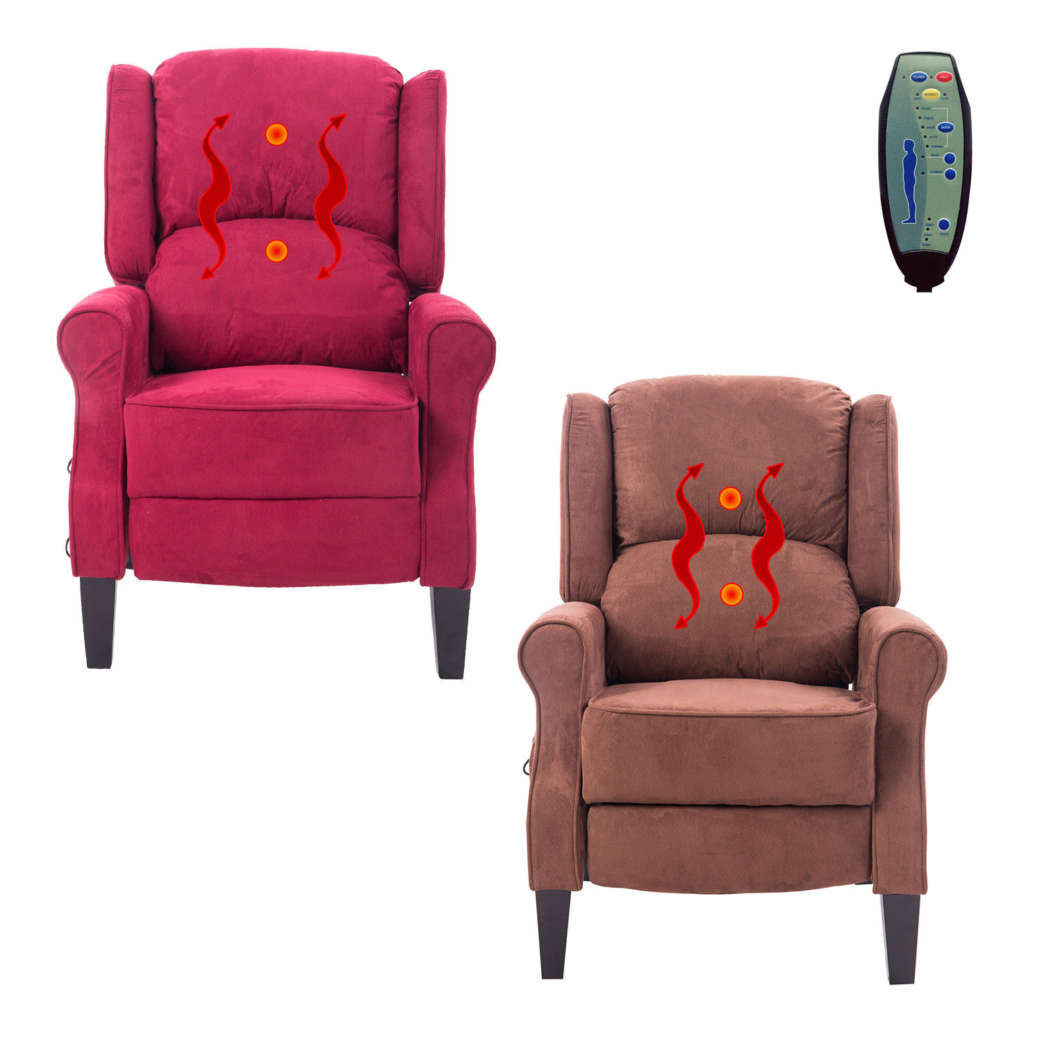 Gentil Deluxe Massage Recliner Chair Heated Sofa Ergonomic Lounge Suede W/ Control  New