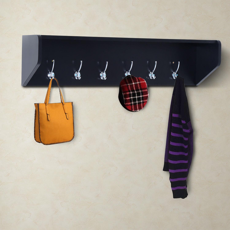 entryway coat rack organizer wall mount shelf hat bag key hanger w 6 hook ebay. Black Bedroom Furniture Sets. Home Design Ideas