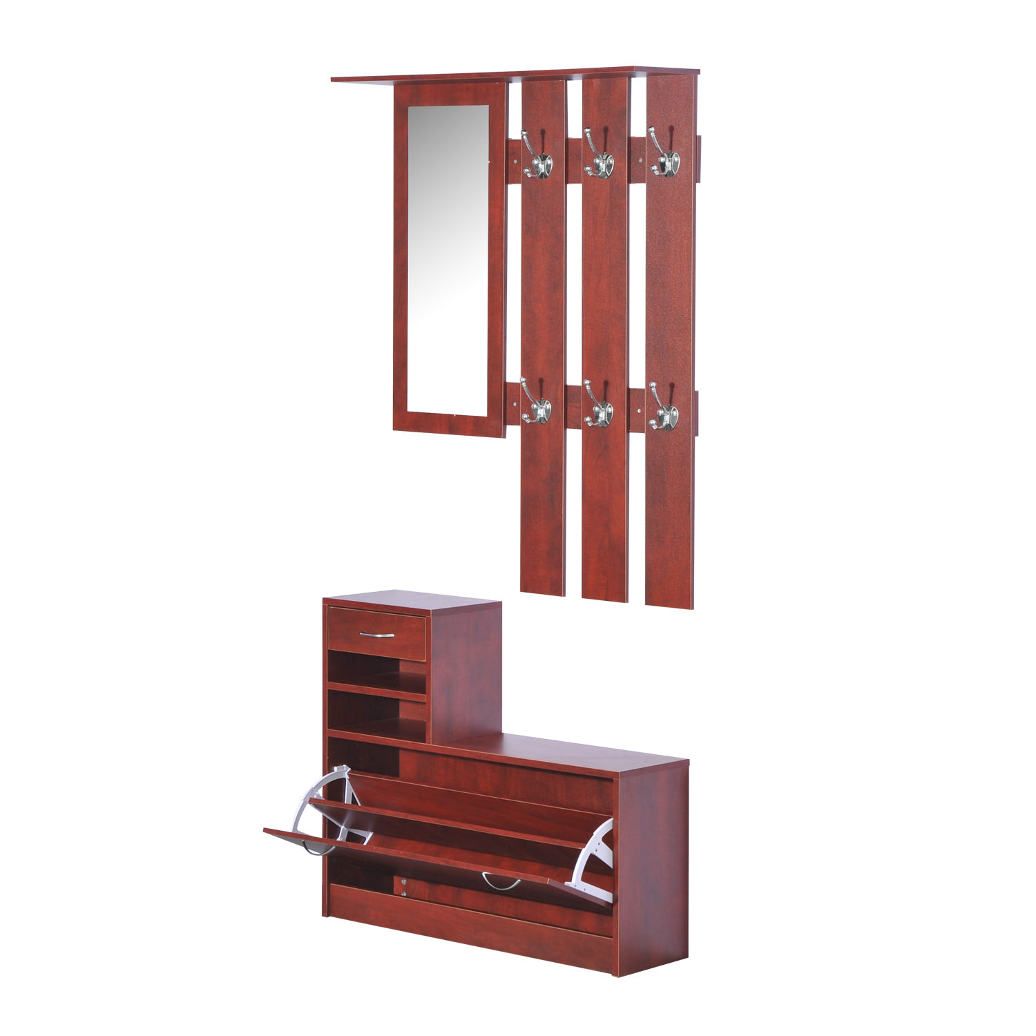 2pc entryway hall coat rack shoe storage bench organizer. Black Bedroom Furniture Sets. Home Design Ideas