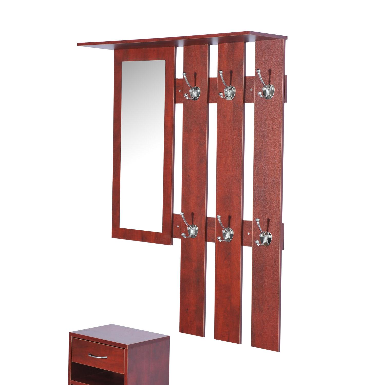 2pc entryway hall coat rack shoe storage bench organizer cabinet shelf w mirror ebay. Black Bedroom Furniture Sets. Home Design Ideas