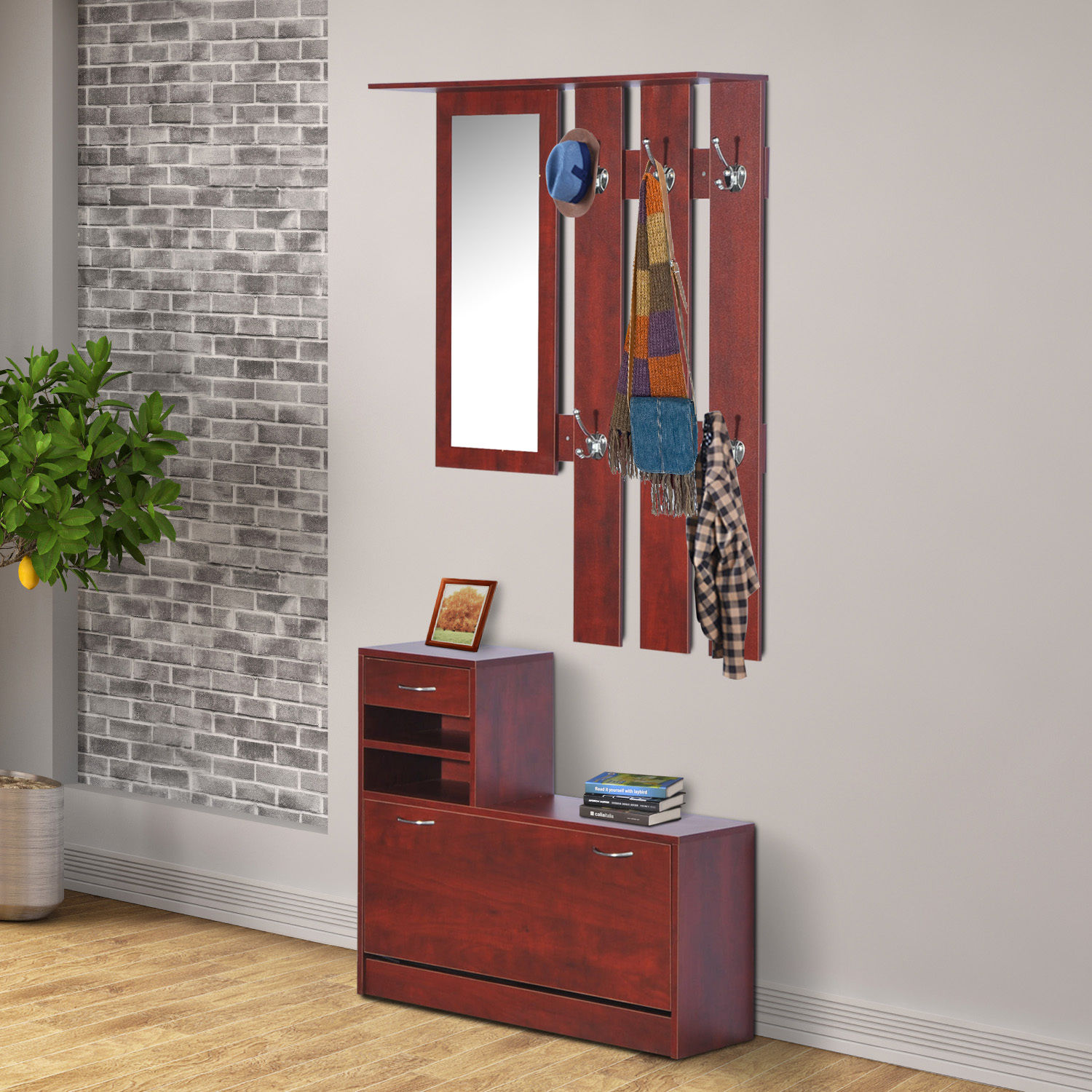 Foyer Coat Storage : Pc entryway hall coat rack shoe storage bench organizer