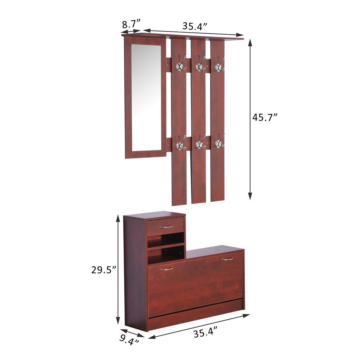 Foyer Mirror Cabinet : Pc entryway hall coat rack shoe storage bench organizer