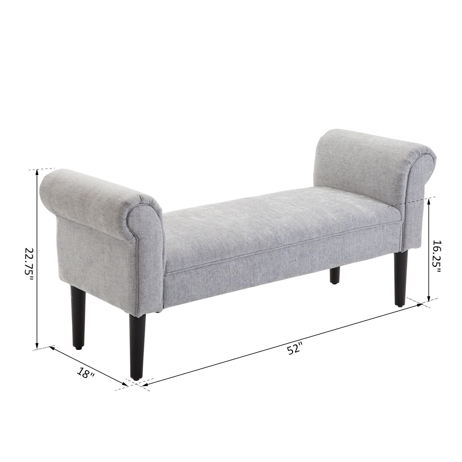 52 Modern Rolled Arm Bench Bed End Ottoman Sofa Seat Footrest Bedroom Entryway Ebay